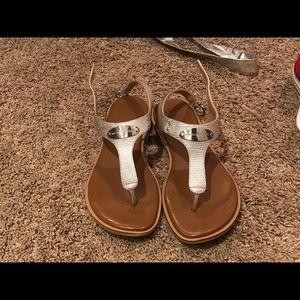 Michael Kors silver thong sandals